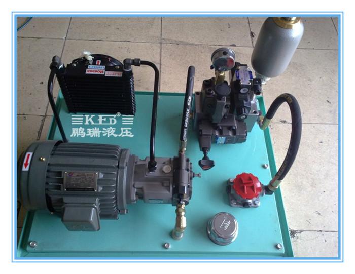 非标 液压站 工作原理 电机带动油泵旋转,泵从油箱中吸油供油,将机械